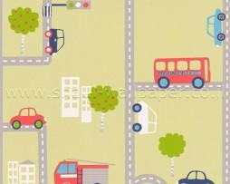 טפט לחדר ילדים מכוניות ואוטובוסים