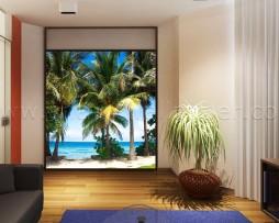 תמונת טפט לקיר עצי דקל בחוף