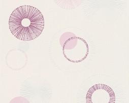 טפט לקיר עיגולים בגוון סגול לבן ורוד