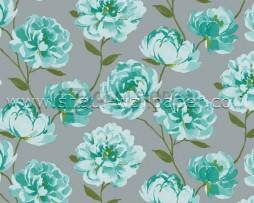 טפט פרחים טורקיז ברקע אפור