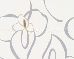 טפט פרח אפור על רקע לבן