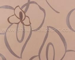 טפט פרח אפור על רקע אפרסק