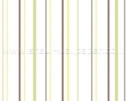 טפט פסים בגווני חום ירוק וצהוב