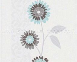 טפט פרחים וגבעולים חום תכלת ברקע קרם