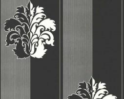 טפט גובלן שחור לבן ברקע פסים