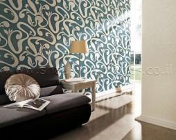 טפט לקיר צורות מעניין בגוון ירוק כהה ולבן