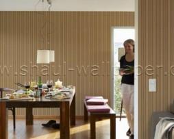 טפט לקיר פסים א-סימטרי בגוון חום וזהב