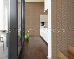 טפט לקיר בצורת גלים בגוון חום זהב