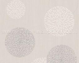 טפט עיגולים לקיר בגוון קרם בז' ואפור