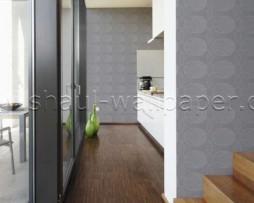 טפט לקיר בצורות גאומטריות בגוון אפור וכסף
