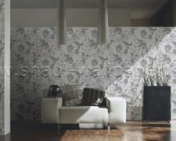 טפט לקיר בצורת פרחים בגוון אפור על רקע לבן מחוספס
