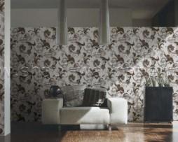 טפט לקיר בצורת פרחים בגוון חום על רקע לבן מחוספס