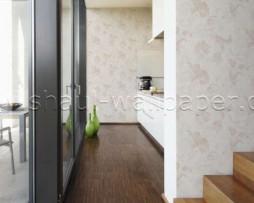 טפט לקיר בצורת פרחים בגוון אפרסק על רקע לבן מחוספס