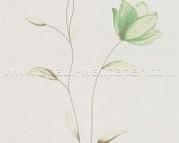 טפט לקיר שמנת עם פרחים ירוקים