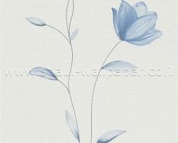 טפט לקיר פרחים בצבע כחול על רקע שמנת