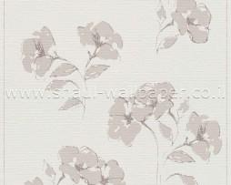 טפט לקיר שמנת עם פרחים בצבע בז'