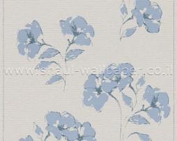 טפט לקיר שמנת עם פרחים בצבע תכלת