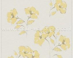 טפט לקיר שמנת עם פרחים צהובים