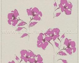 טפט לקיר קרם עם פרחים סגולים