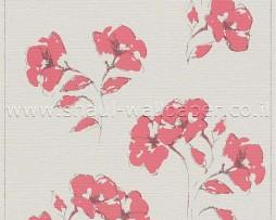 טפט לקיר שמנת עם פרחים ורודים