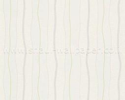 טפט פסים מפותלים בגווני ירוק אפור שמנת