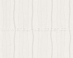טפט פסים מפותלים בגוון אופוויט ברקע שמנת