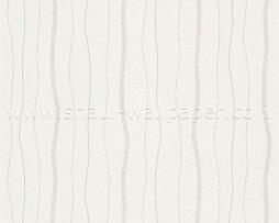טפט פסים מפותלים בגווני טורקיז אופוויט ושמנת