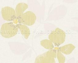 טפט פרחים גדולים בגווני ירוק אפור