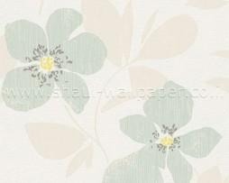 טפט פרחים גדולים בגווני טורקיז אופוויט ושמנת