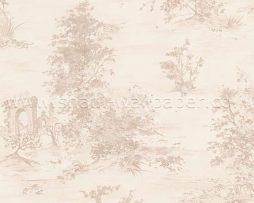 טפט לחדר שינה עצים קטנים בגוון בז' ורקע קרם