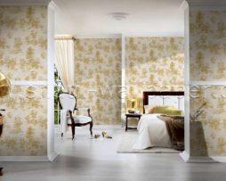 טפט לחדר שינה עצים קטנים בגוון זהב ורקע קרם