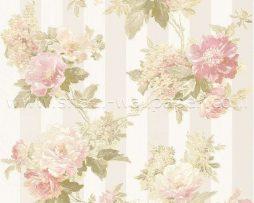 טפט לחדר שינה פרחים ופסים בגוון אפרסק ורקע קרם