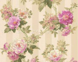 טפט לחדר שינה פרחים ופסים בגוון סגול לילך ורקע זהב