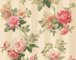 טפט לחדר שינה פרחים ופסים בגוון ורוד וקרם ורקע זהב