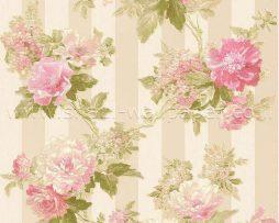 טפט לחדר שינה פרחים ופסים בגוון ורוד ורקע זהוב
