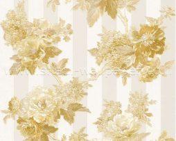 טפט לחדר שינה פרחים ופסים בגוון זהוב ורקע קרם