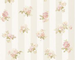 טפט לחדר שינה פרחים קטנים ופסים בגוון אפרסק ורקע קרם