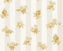 טפט לחדר שינה פרחים קטנים ופסים בגוון זהב ורקע קרם