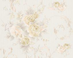 טפט לחדר שינה פרחים ועלים בגוון קרם ורקע שמנת