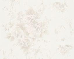טפט לחדר שינה פרחים ועלים בגוון שמנת ורקע שמנת