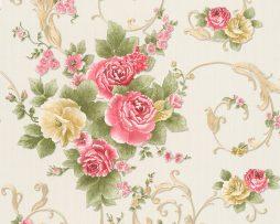 טפט לחדר שינה פרחים ועלים בגוון ארגמן ורקע שמנת