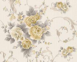 טפט לחדר שינה פרחים ועלים בגוון זהב עדין ורקע שמנת