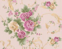 טפט לחדר שינה פרחים ועלים בגוון ורוד ורקע קרם