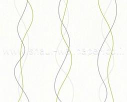 טפט לקיר פסים מעוגלים בגוונים אפור לבן וירוק