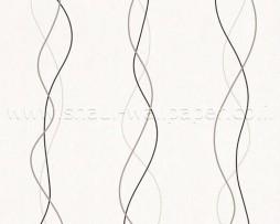 טפט לקיר פסים מעוגלים בגוונים חום קרם ושחור