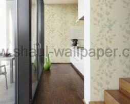 טפט עלים לקיר נוצץ בגוון ירוק בהיר