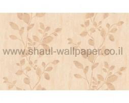 טפט עלים לקיר בגוון אפרסק נוצץ
