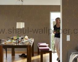 טפט לקיר מדליונים עשיר בגוון חום זהוב