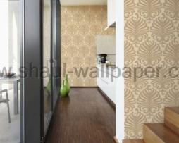 טפט לקיר מדליונים עשיר בגוון קרם אפור