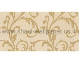 טפט לקיר עלים מיוחד נוצץ בגוון קרם וזהב